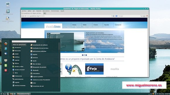 Escritorio de Guadalinex con el navegador Firefox y el menú Inicio