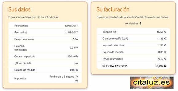 Importe de la factura eléctrica con la tarifa PVPC de 2300 watios