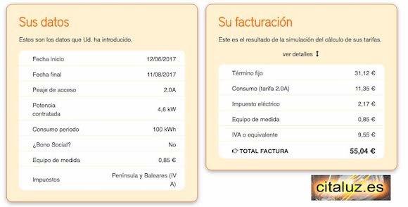 Importe de la factura eléctrica con la tarifa PVPC de 4600 watios