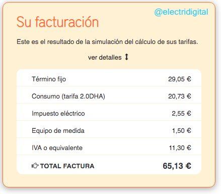 Factura electricidad PVPC