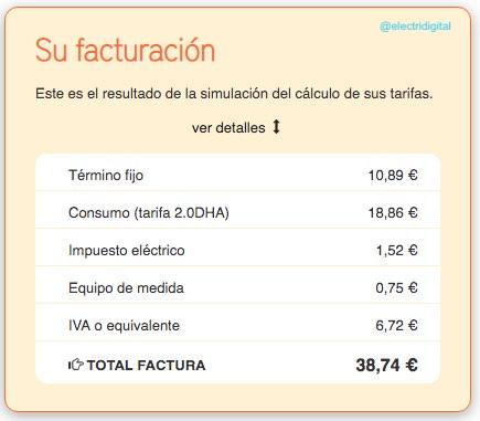 Factura tarifa eléctrica PVPC