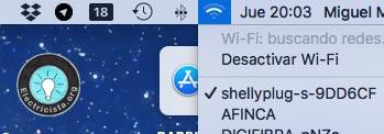 Red Wi-Fi de dispositivos de Domotica Shelly
